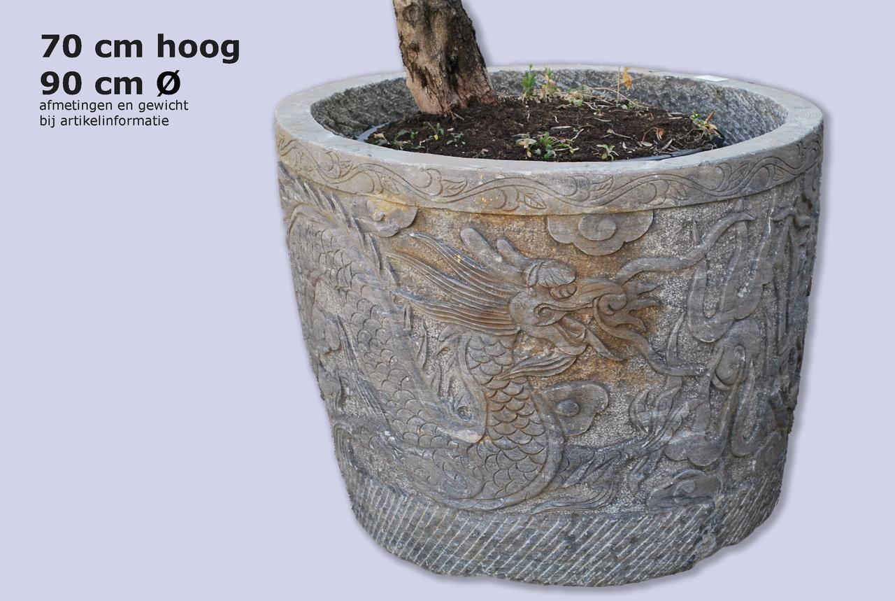 Sierlijke plantenpot tuinpot gravure stenen tuinaccessoires - Japanse tuindecoratie ...