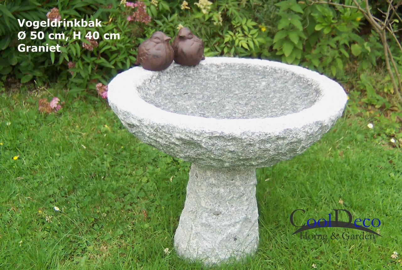 Vogeltränke Granit 2941; Vogeltränke auf Fuß, Gartendeko