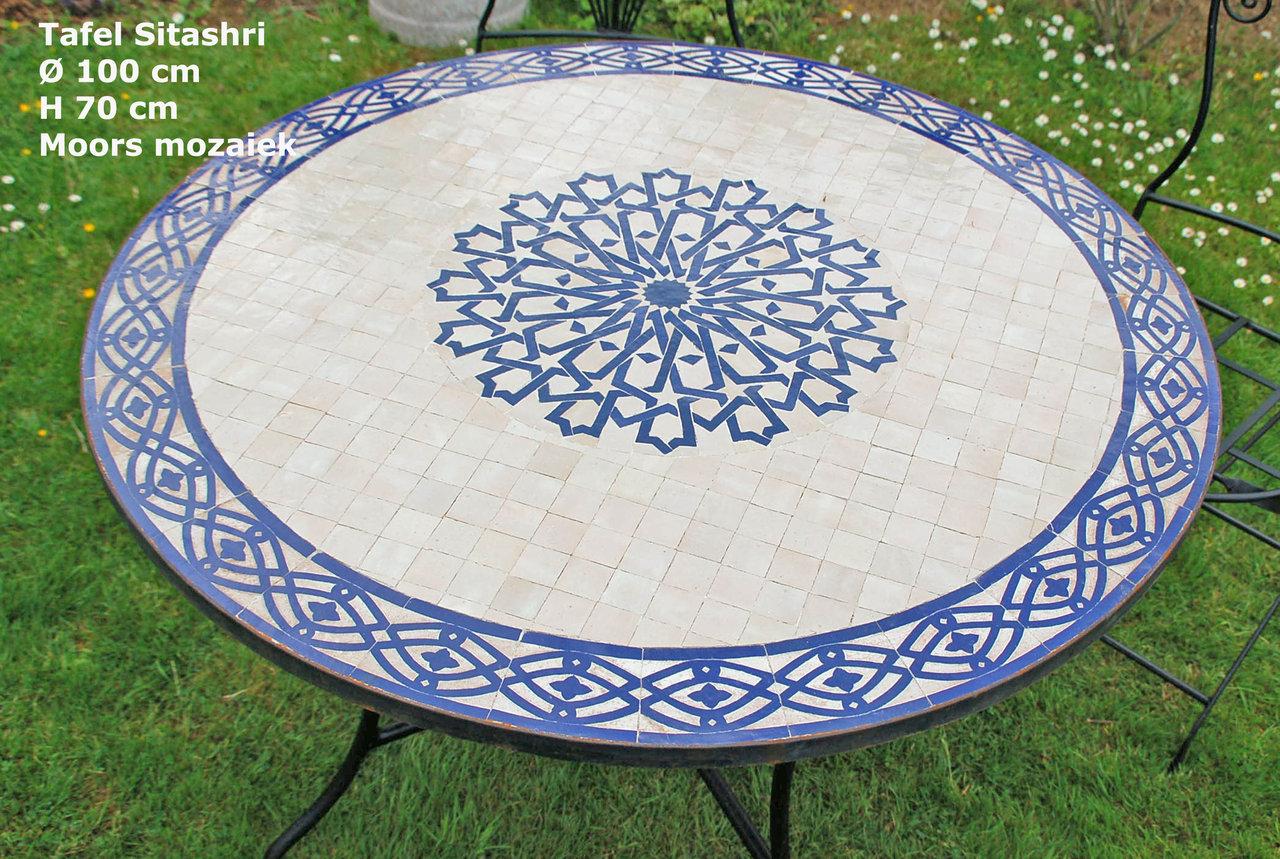 Mozaiek tuintafel sitashri Ø cm voor een mediteraan tuinaccent