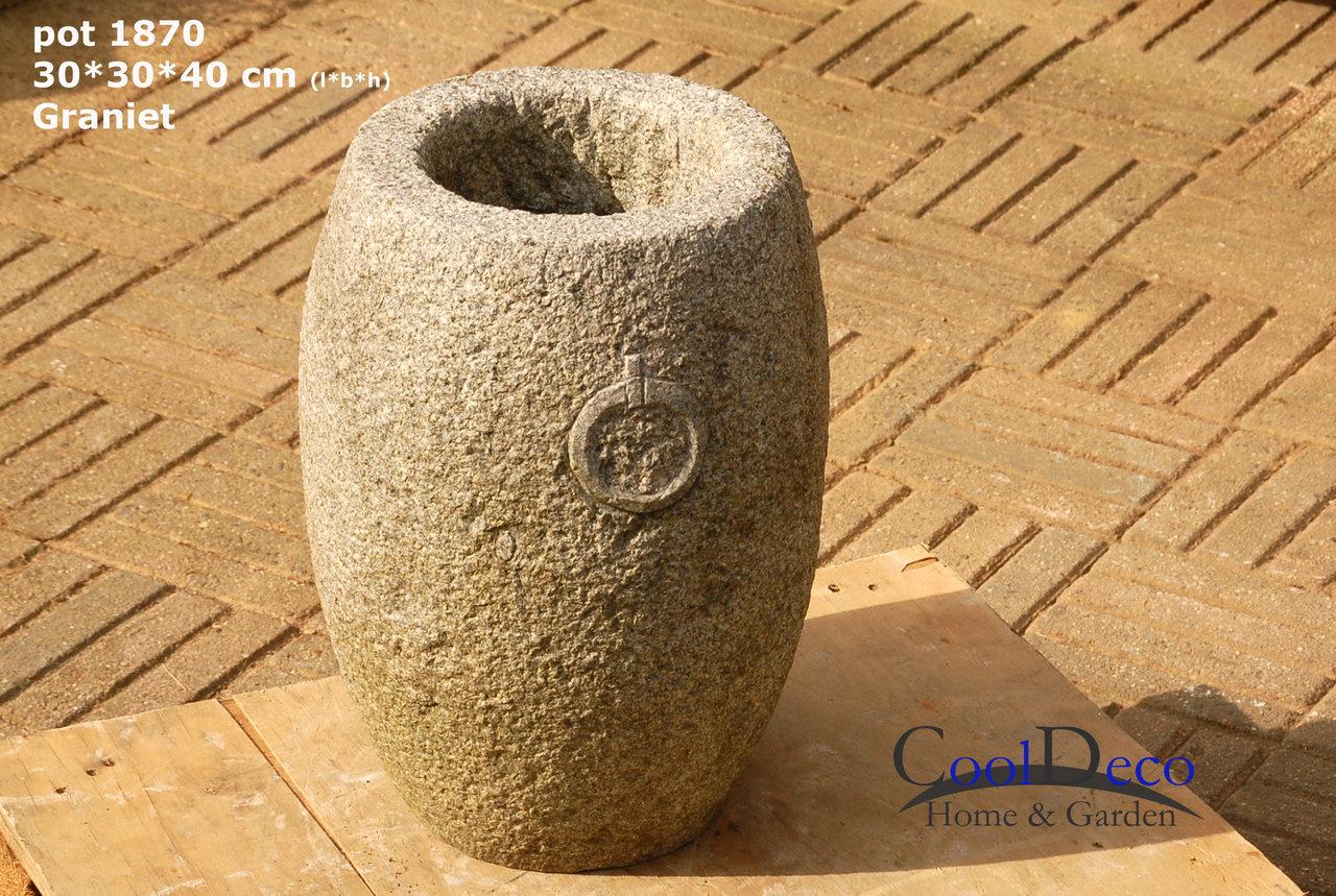 gartenteich im blumentopf, blumentopf l1870 - granit gartentopf mit wasserablauf im boden, Design ideen