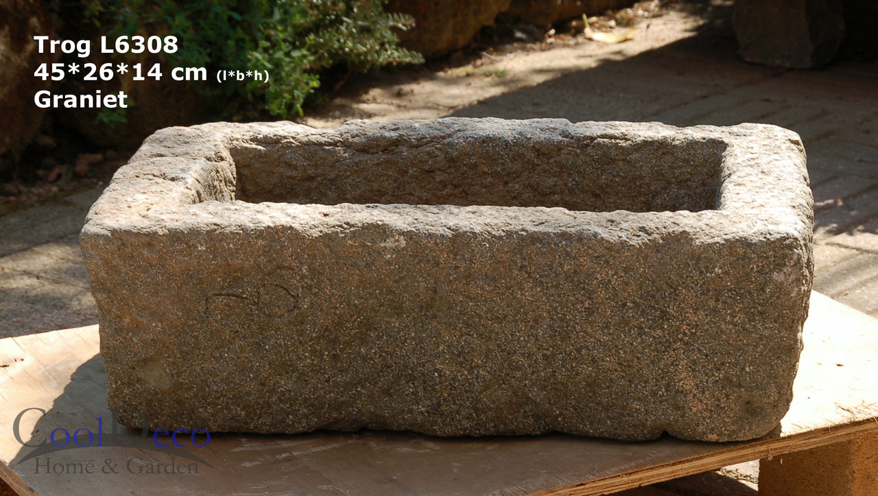 Steintrog L6308 - Vogeltränke Granit; Deko für Balkon oder Garten