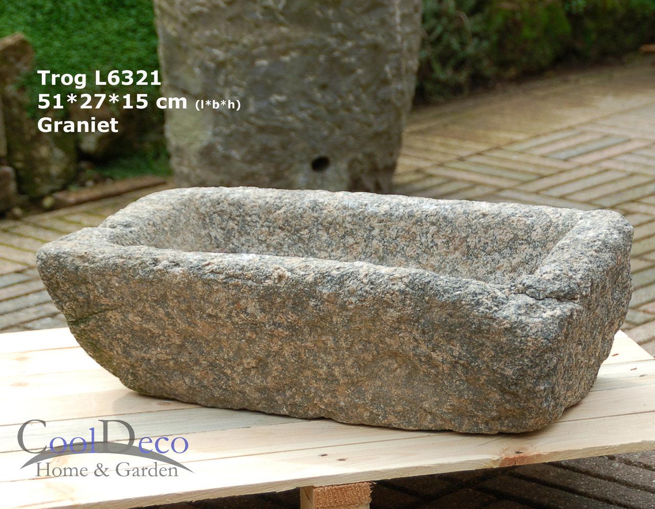 Steintrog L6321 - Vogeltränke gefertigt aus starkem Granit