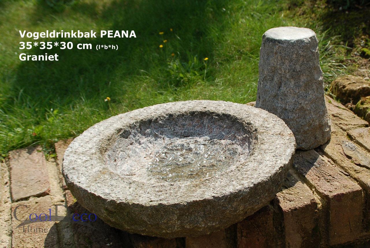 Vogeltränke Peana - Vogelbad Granit auf Fuß aus 2 Einzelteilen.