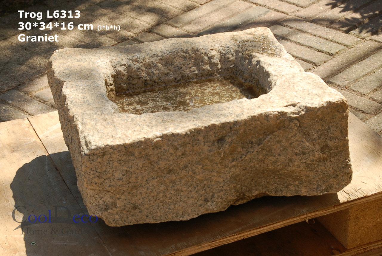 Vogeltränke aus Stein - Granittrog L6313 für Balkon oder Garten