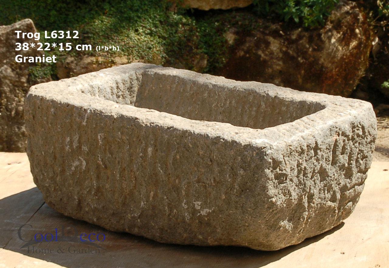 steintrog l6312 vogeltr nke granit deko f r balkon oder garten. Black Bedroom Furniture Sets. Home Design Ideas